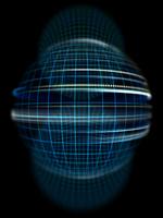 黒背景の格子線球体オブジェクトと光の旋回