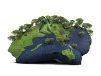 木々に覆われる岩を模した地球儀 10143009908| 写真素材・ストックフォト・画像・イラスト素材|アマナイメージズ