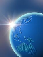 大陸を二進法で描いた地球儀(アジア) 10143009924| 写真素材・ストックフォト・画像・イラスト素材|アマナイメージズ