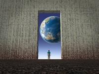 壁の窓から覗く地球を眺める一人の男性 10143009934| 写真素材・ストックフォト・画像・イラスト素材|アマナイメージズ