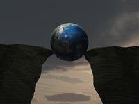 崖の谷間に挟まる地球 10143009935| 写真素材・ストックフォト・画像・イラスト素材|アマナイメージズ