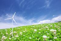 シロツメクサの草原に置いた風力発電のクラフト