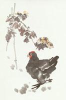 ニワトリと竹と花 水彩画 10155000099| 写真素材・ストックフォト・画像・イラスト素材|アマナイメージズ