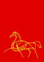 赤地線画黄色馬
