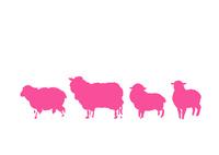 無地4匹ピンク羊