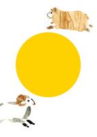 黄色円と左右走る羊