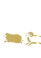 走る二匹金色羊