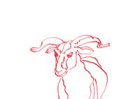 無地赤い線画羊