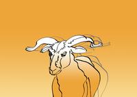 金色グラデーション地線画羊
