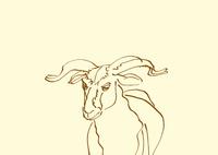 淡い黄色地線画羊
