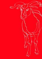 赤い地黄色線画全身羊