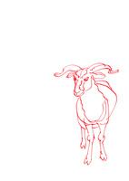 無地赤い線画全身羊