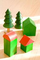 家と木の積み木
