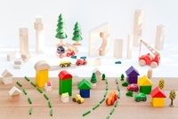 積木の住宅地と商業地区の建設
