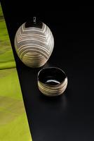 着物の帯と陶器の水指と抹茶茶碗