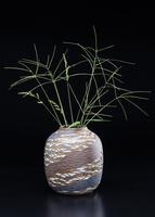 陶器の花瓶とオヒシバ