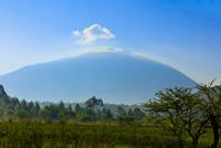 早朝の光を浴びる小田代原と雲かぶる男体山