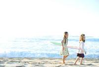 海岸でフラフープをして遊ぶ女の子二人