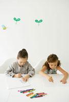 テーブルに向かいクレヨンで絵を書く女の子二人