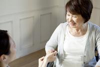 車椅子のシニア女性と女性介護士