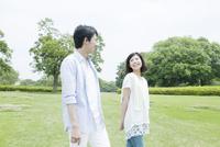 草原を散歩するカップル