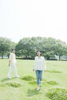 芝生を歩くカップル