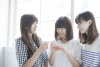 携帯電話を見る女子3人