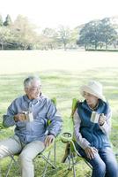 公園でピクニックをするシニアカップル
