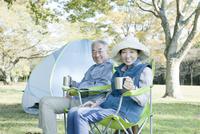 公園でピクニックを楽しむシニアカップル