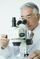 顕微鏡を覗く70代男性研究者