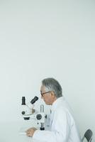 顕微鏡を覗く70代男性研究員