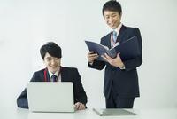 オフィスで仕事をする笑顔の20代男性2人