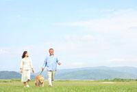 草原で犬と散歩するシニア夫婦
