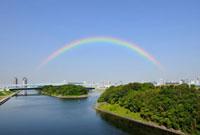 ゆりかもめと有明再開発地区と虹