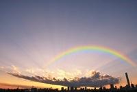 晴海大橋からの都心の夕暮れ 10168000851| 写真素材・ストックフォト・画像・イラスト素材|アマナイメージズ