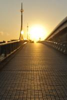 夕日とあけみ橋