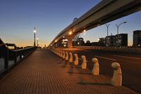 夕焼け空とあけみ橋