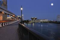 満月と夜の東京ビッグサイトの遠望