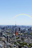 六本木ヒルズのスカイデッキから見る東京タワー方向の眺め