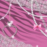 ピンクのトラ柄とアクセサリとレース