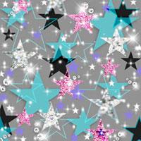 キラキラした星型のコラージュ