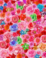 一面のカラフルな花とリボン