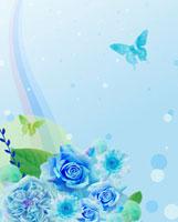 青い花と蝶のコラージュ