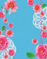 ピンクの花と蝶とレースのコラージュ