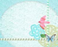 小鳥とレースと蝶のコラージュ