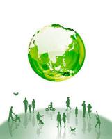 地球とシルエット