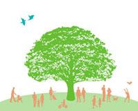 大きな木とシルエット