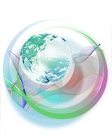 地球とカラフルなライン
