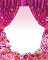 ピンクの緞帳と花