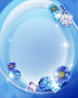 青い花と宝石